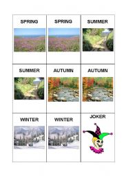 English Worksheet: Memory Game: Season & Weather 1/2