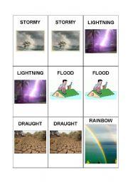 English Worksheet: Memory Game: Season & Weather # 2/2