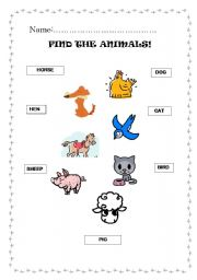 English Worksheets: FIND THE ANIMALS 2