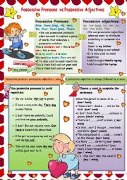 English Worksheet: possessive pronouns VS possessive adjectives
