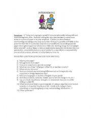 English Worksheets: Interviewing & Bio-Writing