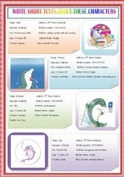 English Worksheets: write short texts about these characters (dolphins)