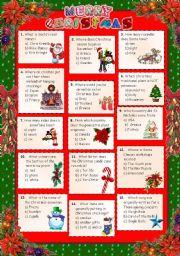English Worksheet: Christmas 2011 - Quiz + key.