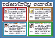 English Worksheet: identity cards (1/3)