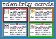 English Worksheet: identity cards (2/3)