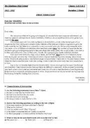 English Worksheets: First Tem Examination