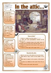 English Worksheet: In the attic (picture description, prepositions, articles...)