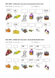 English Worksheet: asking for a price