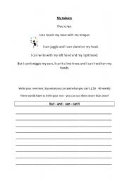 English Worksheet: My talents - text writing guide
