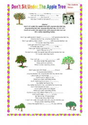 English worksheet: don´t sit under the apple tree--The andrew sisters