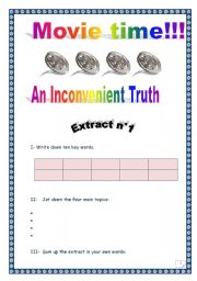 English Worksheet: An Inconvenient truth - Al Gore - Extract n°1 (with comprehensive key)