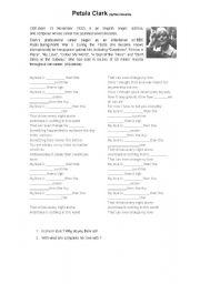 English worksheet: Petula Clark - My Love