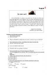 English Worksheets: my sister and I