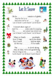 English Worksheet: LET IT SNOW + key