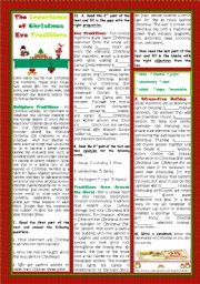English Worksheet: THE IMPORTANCE OF CHRISTMAS EVE TRADITIONS
