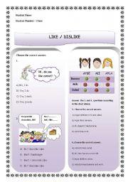 English Worksheet: like & dislike - food & drink