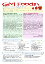 English Worksheet: Test on GM Foods - 11th grade (7 years of English) key included