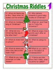 Transformative image within christmas riddles printable