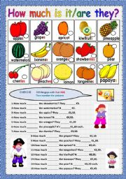 English Worksheets: How much is it and fruit vocabulary
