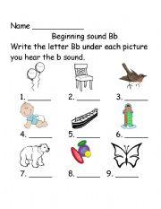English Worksheet: Beginning Sounds Bb
