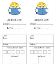 English Worksheets: AR book club bookmarker