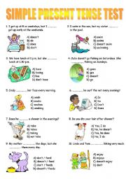 Simple Present Tense Test - worksheet by murat