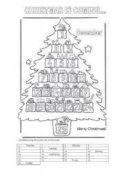 Advent calendar worksheets