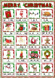 English Worksheet: Christmas vocabulary - gap filling