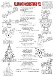 English Worksheet: Song + Gap-Filling + Pictionary - ALL I WANT FOR CHRISTMAS