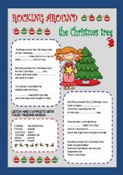 English Worksheet: Rocking around the Christmas tree