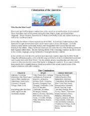 English Worksheets: Colonization Worksheet