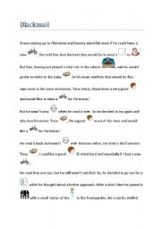 English Worksheet: Blackmail, a Christmas story