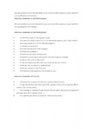 English Worksheets: the question of interview