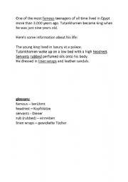 English worksheet: Info cards on Tutanchhamen
