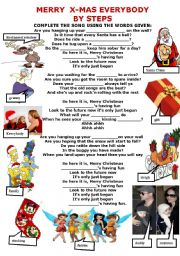 English Worksheet: SONG- MERRY X-MAS EVERYBODY