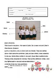 English Worksheet: english test 6th grade