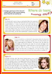 English Worksheet: Teens´ favourite meeting places  -  Where do teens hang out?