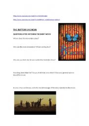 English Worksheet: THE BUTTERFLY CIRCUS - viewing activity