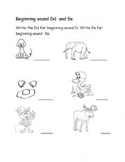 English Worksheets: Beginning Sound Dd and Ee