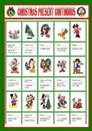 English Worksheet: CHRISTMAS PRESENT CONTINUOUS WITH DISNEY CHARACTERS � EDITABLE � KEY INCLUDED