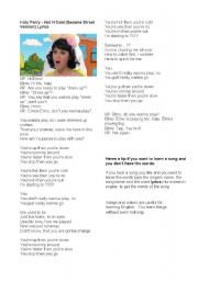 English Worksheet: Katy Perry and Elmo sing Hot and cold