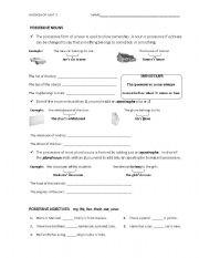 English Worksheets: Possessive nouns workshop