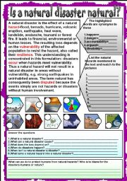 English Worksheets: Is a natural disaster natural?