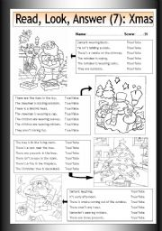 English Worksheets: Read - Look - Answer (7) - Xmas Pictures