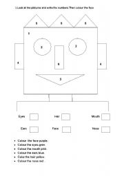 English Worksheet: Parts of the face in the form of colouring