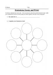 English Worksheets: Brainstorm, Group, and Write!