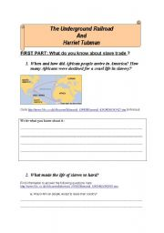 English Worksheet: Harriet Tubman and the Underground Railroad