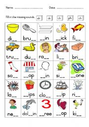 English Worksheet: Phonics - Missing sounds