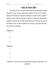 English Worksheets: How to Peer Edit