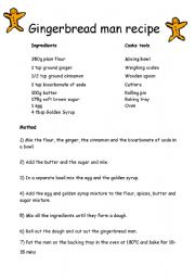 English Worksheet: Gingerbread man recipe instructions